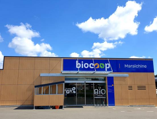Photo de Biocoop Maraîchine, membre de Bout à Bout, réseau de réemploi des bouteilles en verre en Pays de la Loire
